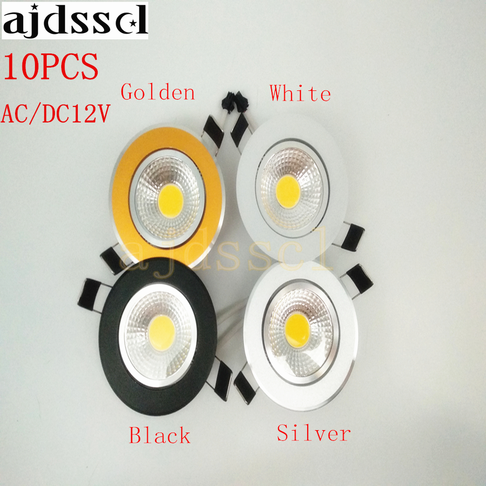 10PCS/lot Super Bright Recessed <font><b>LED</b></font> Dimmable Downlight COB 3W <font><b>5W</b></font> 7W 12W <font><b>LED</b></font> <font><b>Spot</b></font> light <font><b>LED</b></font> decoration Ceiling Lamp AC/DC <font><b>12V</b></font> image