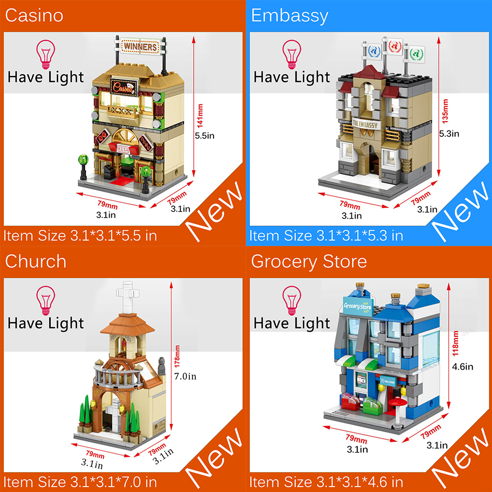 4PCS/Set Embassy Mini Street View Building Blocks Toy Bricks MOC Compatible With Legoe City ninjago toys for kid brinquedos gift compatible lepin city mini street view building blocks chinatown satin silk store with saleman figures toys for children gift