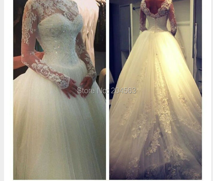 Free Shipping New Arrival A-line Strapless Tulle Wedding Dress with Long Sleeves Custom size/color