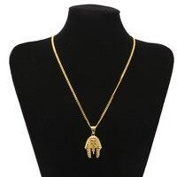 Oude Egyptische farao hiphop ketting hoofd kleur behoud rvs hanger Egyptische koning vacuüm plating CAGM0017