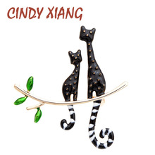 CINDY XIANG New Arrival Enamel Cat Brooches Fashion Animal Pin 2 Colors Available Gold Color Plated Cute Kids Accessories Gift