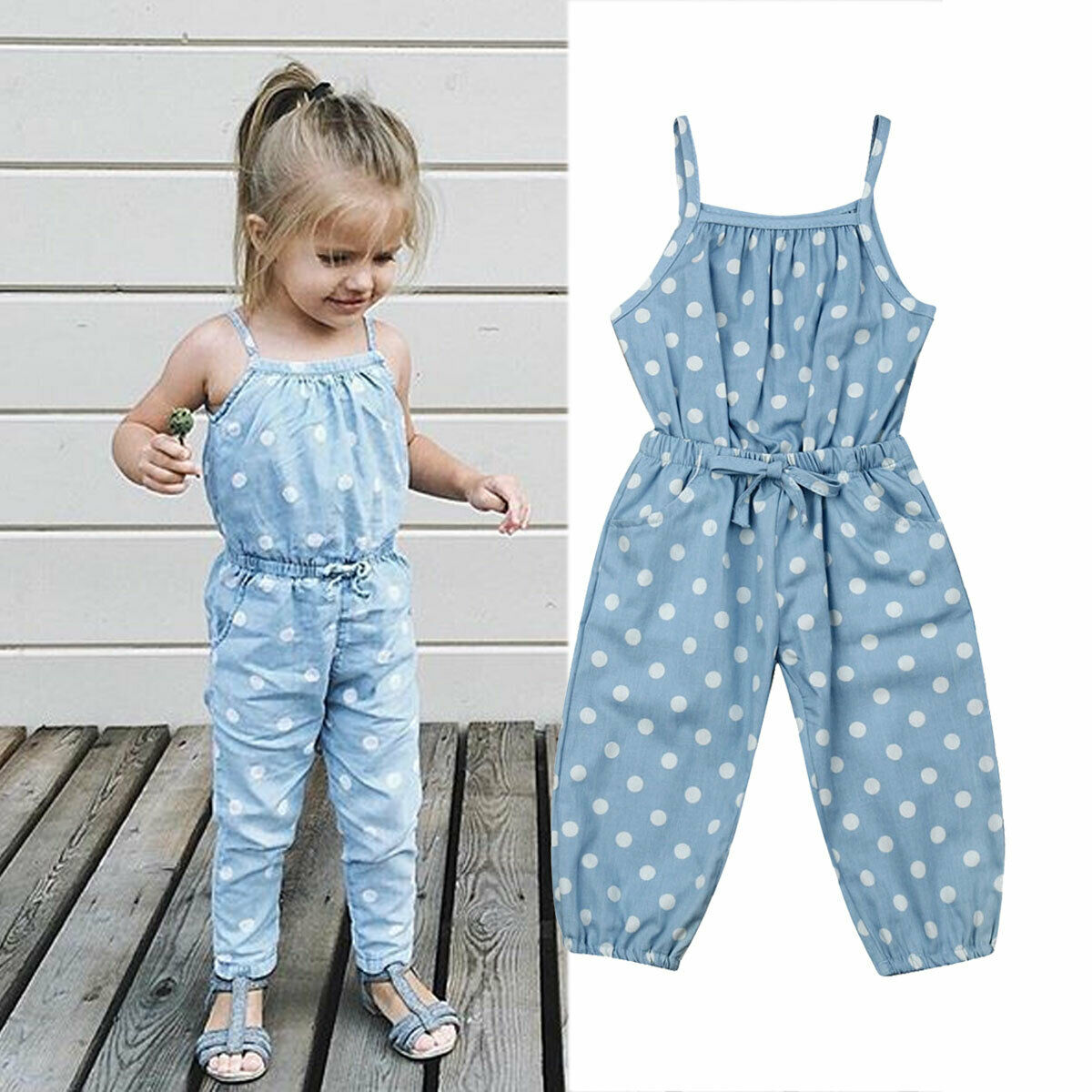 e3122afd4 1-5Y Cute Infants Baby Girl Romper Sleeveless Blue Wave Point Bib Pants  Trousers Summer Clothes Top ~ Perfect Deal June 2019