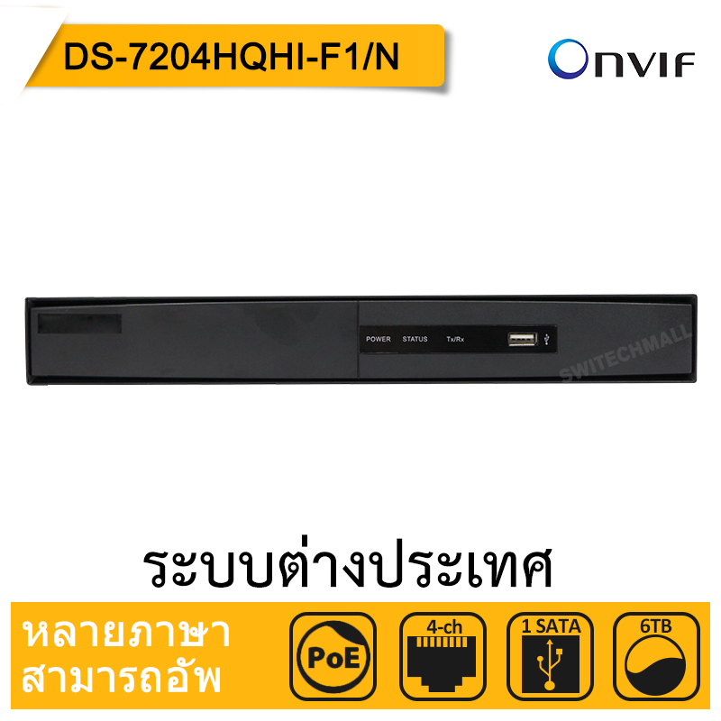 Hikvision DS-7204HQHI-F1/N Original English Version Turbo HD DVR SUPPORT 1080P HD-TVI/AHD/Analog/IP Camera UP to 3MP