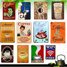 Paris Cafe Sign Decoration Plaque Metal Vintage Fresh Brewed Coffee Art Posters for Wall Bar Club House Kitchen Home Decor WY29