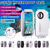 HAWEEL 40m/130ft Waterproof Diving Housing Photo Video Taking Underwater Cover Case For huawei P20,P20 PRO,Mate20 pro