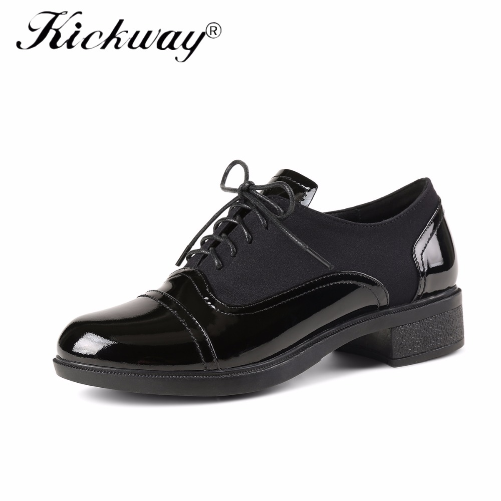 Kickway Brogue Genuine Cow Leather Woman Oxford Shoes British Style Black Lace up Flat Shoes Casual Oxford Shoes for Women 34-40 e lov women casual walking shoes graffiti aries horoscope canvas shoe low top flat oxford shoes for couples lovers