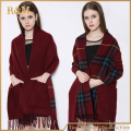 2016 fashion new womens winter Cashmere Wool camel plaids scarf pashmina really wraps with pockets double side double use