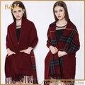 2016 moda de las nuevas mujeres de invierno de lana de cachemira camel telas escocesas de la bufanda del pashmina realmente wraps con bolsillos lado del doble del doble uso