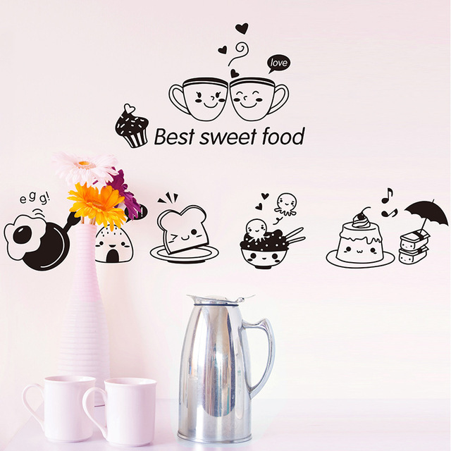 Kitchen Wall Stickers Coffee Sweet Food DIY Wall Art Decal Decoration Oven Dining Hall Wallpapers PVC Wall Decals/Adhesive