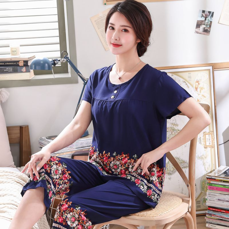 Image 5 - Womens  short sleeve Embroider Flower pajamas set Summer New 3XL cotton pyjamas For mother Soft Home Leisure wearPajama Sets   -