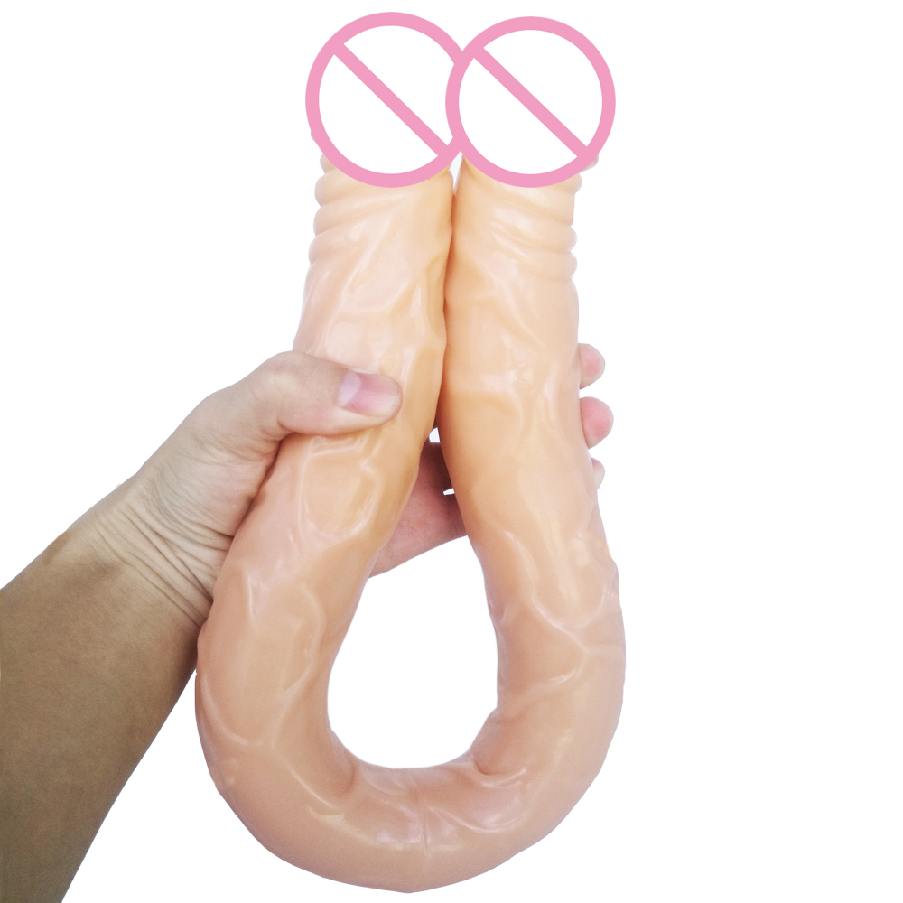AMABOOM 57*4CM Double Dildo super long Flexible Soft penis Vagina and Anal Butt plug Women Gay Lesbian Double Ended Dong Sex Toy image