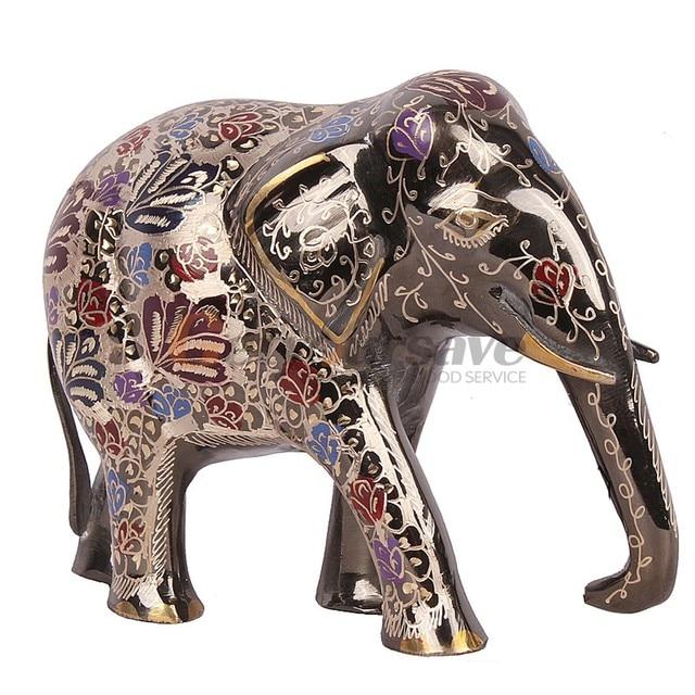 """Latón 8,3 """"elegante estatua del maletero del elefante estatuilla de la suerte regalo y decoración del hogar"""