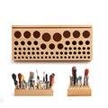 46/68 trous en bois maroquinerie outils Rack Stand en cuir artisanat estampage poinçonnage porte outils organisateur Ensembles d'outils de maroquinerie     -