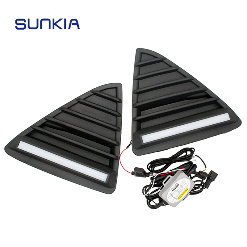 SUNKIA Super Bright LED DRL Daytime Running Light For Ford Focus 2012 2013 2014 Driving Lamp With Dimmed Function hireno super bright led daytime running light for ford raptor f150 f 150 2010 2011 2012 2013 2014 car led drl fog lamp 2pcs