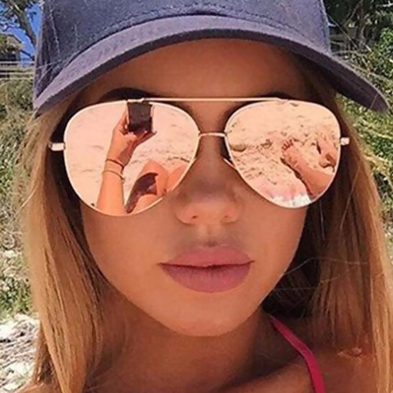 Meyou Fashion Flat Lenses Mirror Aviation Sunglasses Women