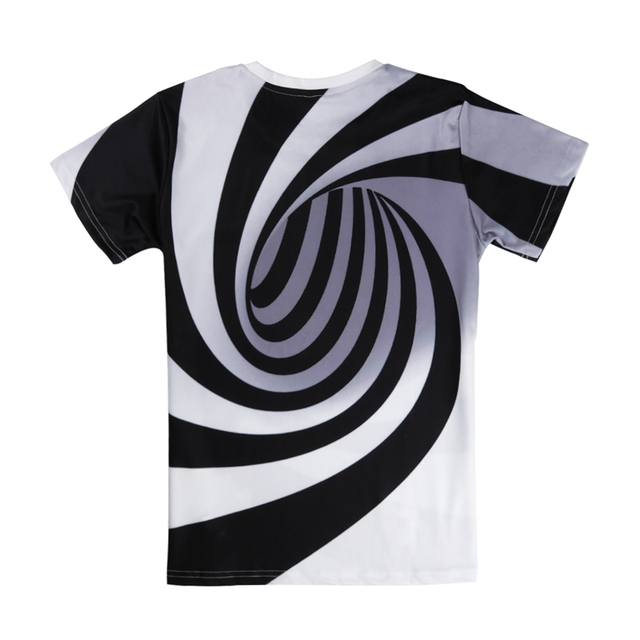 Alisister Black And White Vertigo Hypnotic Printing T Shirt Unisxe Funny Short Sleeved Tees Men/women Tops Men's 3D T-shirt 2