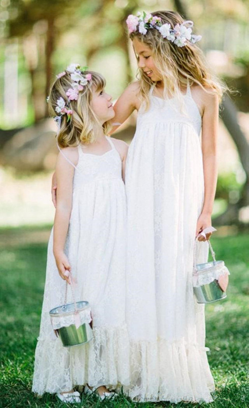 2015 long beach lace flower girl dresses for weddings for Flower girl dress for beach wedding