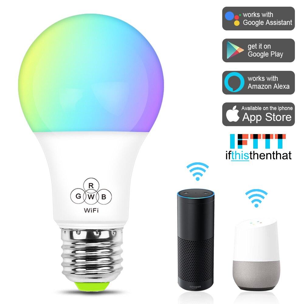 rgbw led wifi smart lights edison bulb compatible with amazon alexa google home ifttt e27 e26. Black Bedroom Furniture Sets. Home Design Ideas
