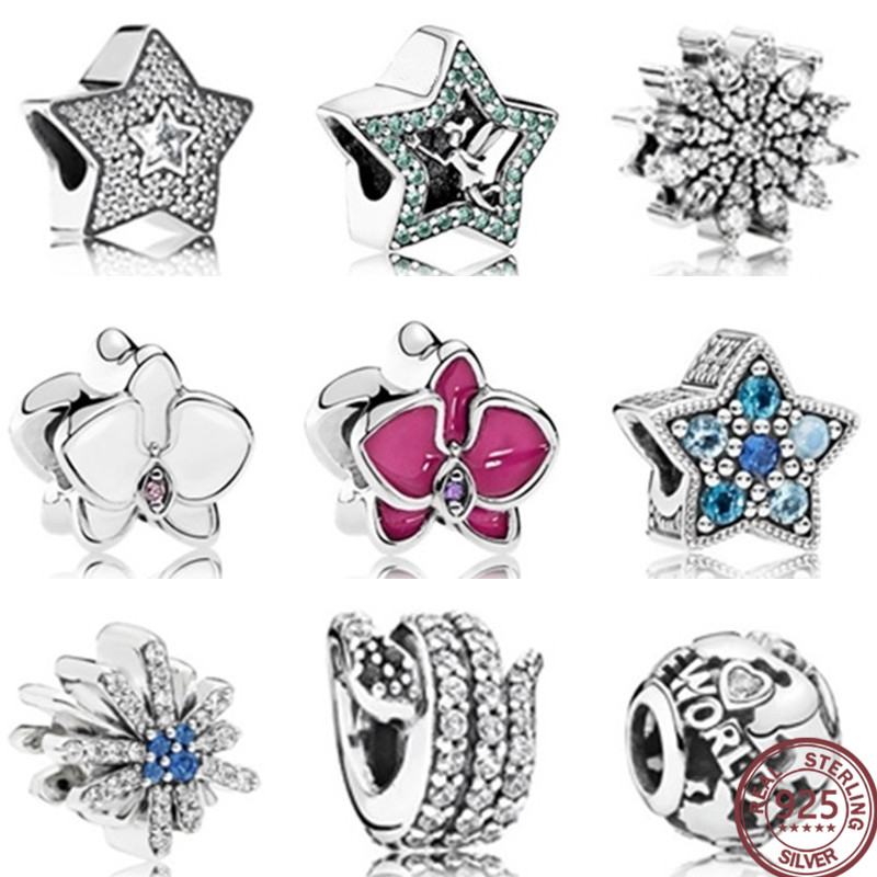 100% 925 Sterling Silver Stars sparkling crystal zircon beads Original 1:1 Fashion Charm Beads Jewelry For Women Gift Free Shipp100% 925 Sterling Silver Stars sparkling crystal zircon beads Original 1:1 Fashion Charm Beads Jewelry For Women Gift Free Shipp