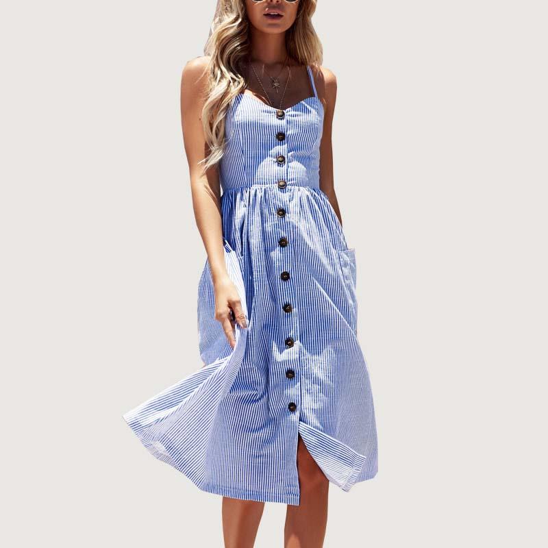 Wavaiov Striped Button Sexy Casual Summer Strap Dress Long Boho Beach Pockets Women Sundress Vestidos Elegant Daily Dess Female