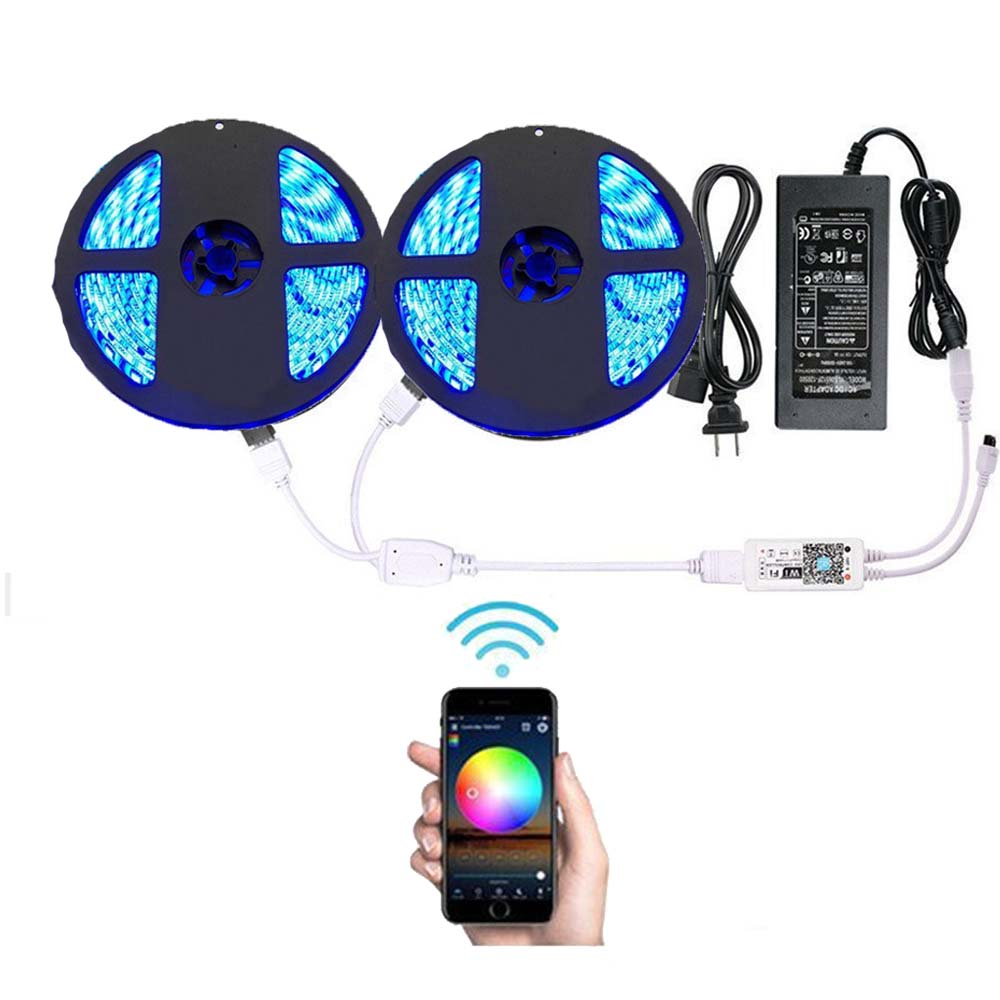 Lumière LED de bande de LED de contrôle intelligent de Wifi avec l'alimentation d'énergie de DC12V imperméable 10 m LED s rvb allumant les lumières flexibles changeantes de couleur