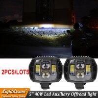 40W led headlight 5w 5inch New Led Driving Light 2016 new led fog light used for car truck suv atv marine New External Light x2
