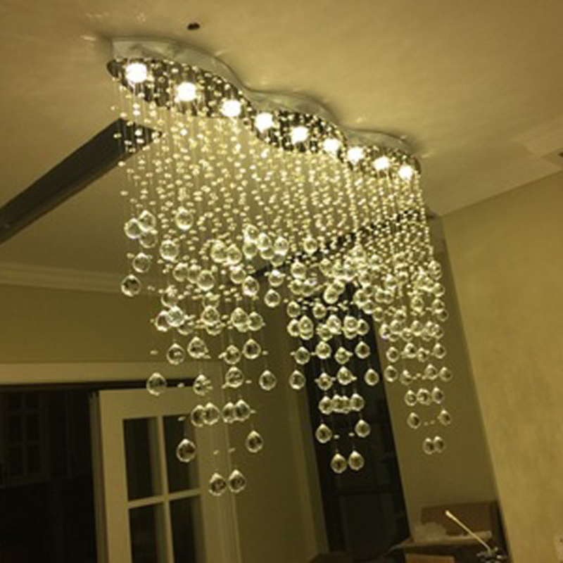 New Modern LED K9 Crystal Chandeliers Lighting Fixtures Living Room Oval  Lamparas Colgantes De Cristal LED Light Chandelier Lamp