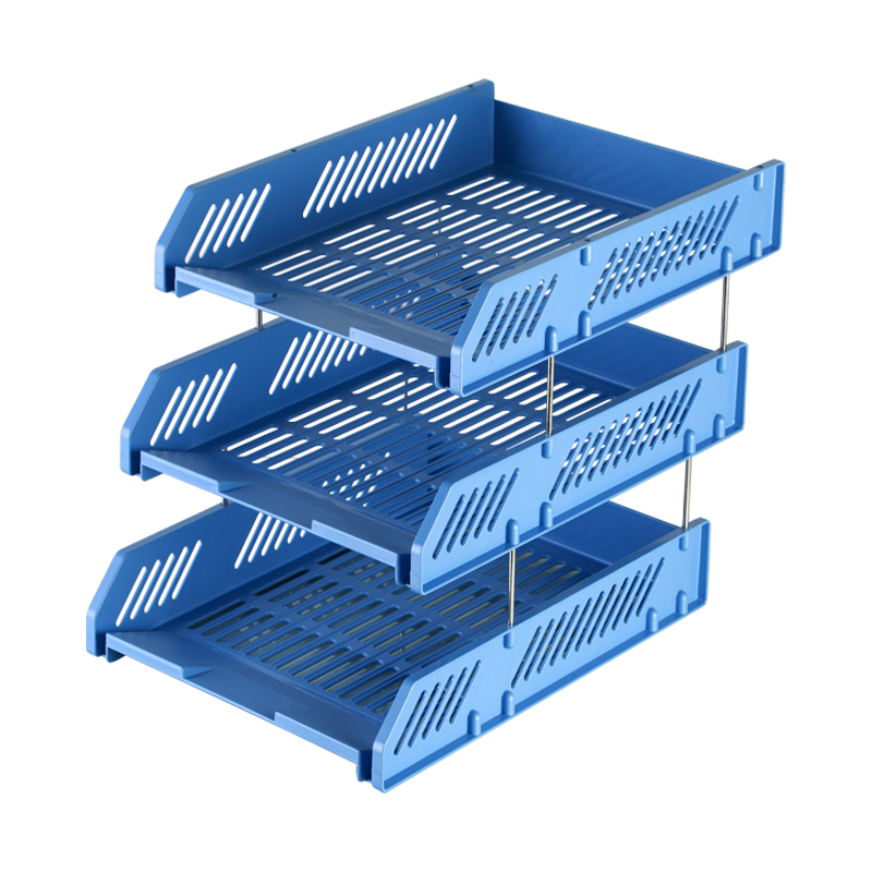 Comix Reinforcement 3 Tier Desktop Document Letter File Tray Organizer Blue White Office School Supplies Stationery (B2060) 1 set business file tray diy desktop magazine a4 file organizer document trays office supplies stationery random color