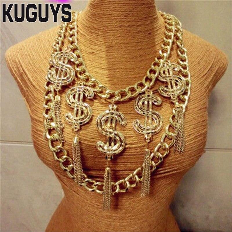 Kuguys na Moda Colar para Mulheres Colar dos Homens Jóias Liga Hiphop Borla Hyperbole Rock Dólar Pingente ds dj Acessórios