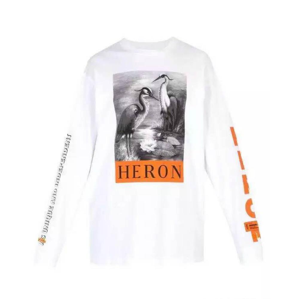 2819563d50d Белый с длинным рукавом Heron Престон футболка вышитый логотип цапля  печатных тройник ребра вязать Crewneck воротник