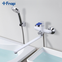 Frap Modern Style Bath Faucet Wall Mounted Cold and Hot Water Mixer Tap Multi Color Handle Cover Choices 35cm Long Nose F2234