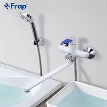 Frap grifo de baño de estilo moderno, grifo mezclador de agua fría y caliente montado en la pared, cubierta de mango multicolor, opciones de 35cm de largo para la nariz F2234