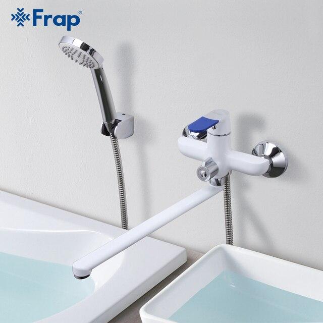 Frap מודרני סגנון אמבטיה ברז קיר רכוב קר וחם מים מיקסר ברז רב צבע ידית כיסוי אפשרויות 35cm אף ארוך F2234