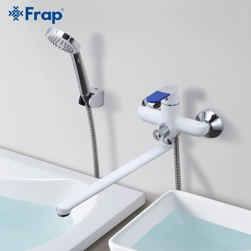 Robinet de bain de Style moderne Frap robinet mitigeur d'eau froide et chaude mural poignée multicolore choix de couverture 35 cm Long nez F2234