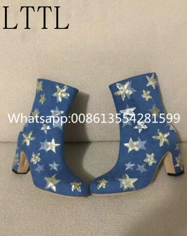 REAL PICTURE! Women Fashion Med-Calf High Star Appliques Decoration Spike Thick Heels Winter Short Booties Blue Denim Boots