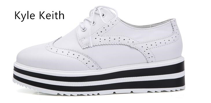 Kyle Keith Women Platform Oxfords Brogue Flats Shoes Patent Leather Lace Up Pointed Toe Luxury Brand Creepers qmn women laser cut genuine leather platform flats women square toe height increasing brogue shoes woman flats creepers 34 39