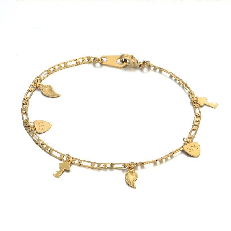 Womens Bracelets 2018 New Braslet 20CM Gold Color Heart & Key Charm Bracelet For Women Jewelry Gift