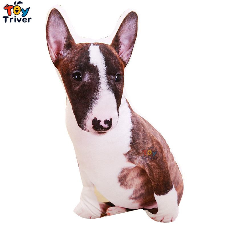 Plush Bull Terrier Dog Toy Triver Stuffed Animal Doll Kids Baby Children Birthday Gift Sofa Cushion