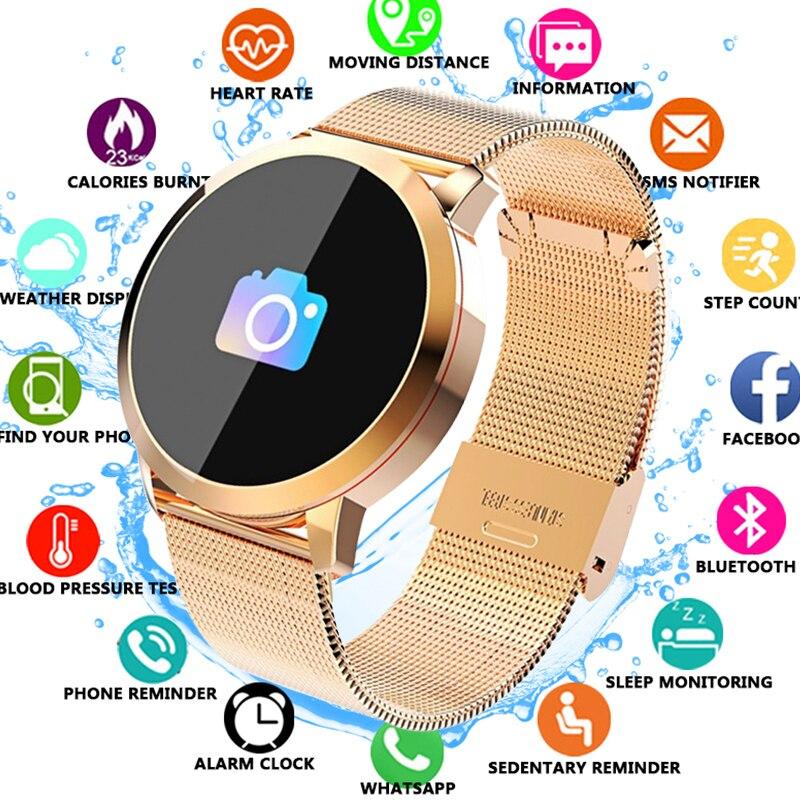 Mulheres Relógio Inteligente Homens de Fitness Rastreador Smartwatch Q8 IP67 Pulseira Monitor de Freqüência Cardíaca À Prova D' Água Esporte Pulseira Para Android IOS