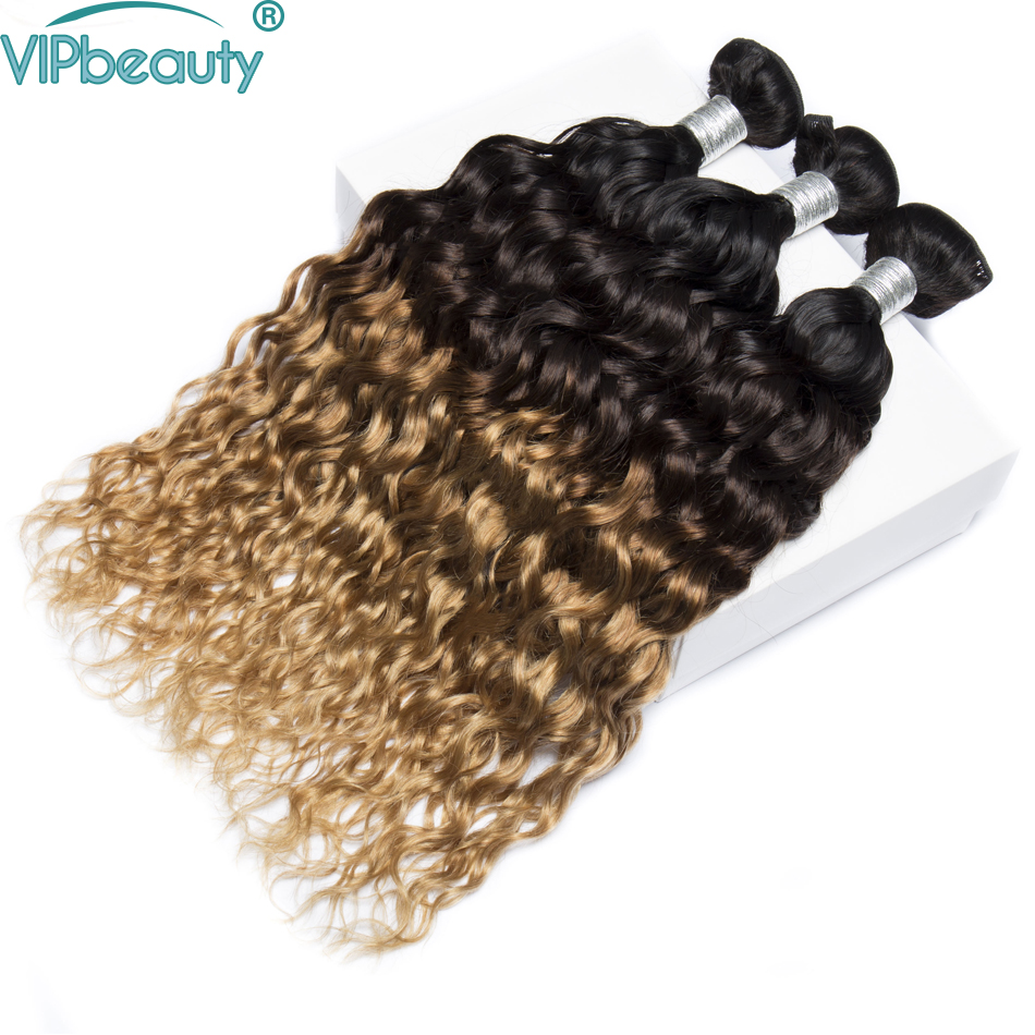 Vip beauty water wave ombre hair 3 bundles 1b 4 27 three tone Indian human hair