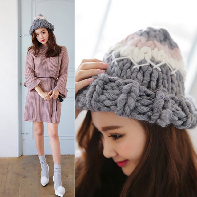 Autumn winter fashion pure hand put together color knitted hat high quality pure handmade curling edge warm knitted crochet hat