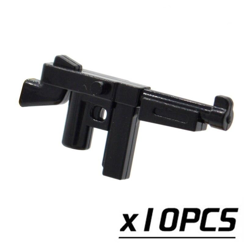10pcs/lot Thompson M1A1 Submachine Guns World War II Weapons MOC for Part  Building Toys for Children