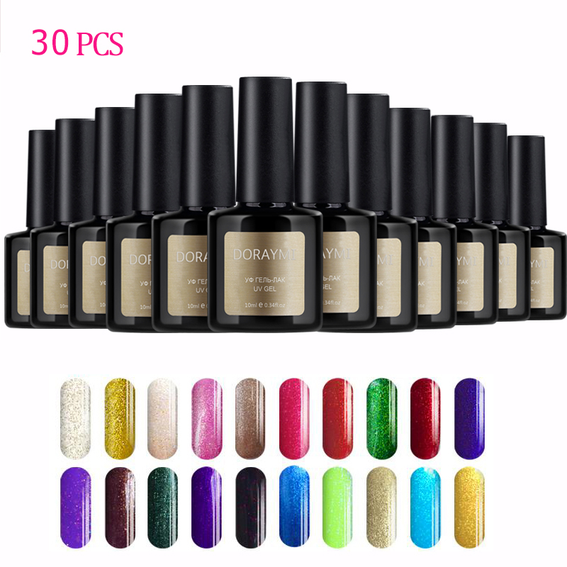 Hot Sale 30pc/set 10ml Blue Place Doraymi Nail Gel Polish Vanish Lacquer UV LED Lamp 120 Colors Soak Off Cosmetic Manicure cnhids set 36w uv lamp 7 of resurrection nail tools and portable package five 10 ml soaked uv glue gel nail polish