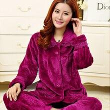 Women's Pajamas Winter Thickening Warm Sleep Flannel Solid flower Ladies Pyjamas Women's Sleep Lounge Pajama Sets