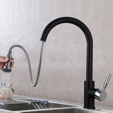 Pull Out  Kitchen Faucet Black Polished Chrome Brass Single Holder Put Down Spray Hot and Cold Water Saving Mixer Sink Tap 360 rotate solid brass pull out spray faucet chrome brass kitchen faucet cold and hot water mixer tap single handle two spouts