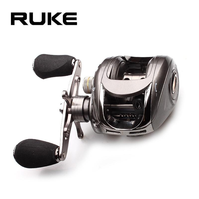 Ruke moulinet de pêche moulage bobine rapport de vitesse 5.1: 1 bobine d'aluminium roulement de frein magnétique 5 + 1 bouton EVA 218g Max glisser 4.5KG