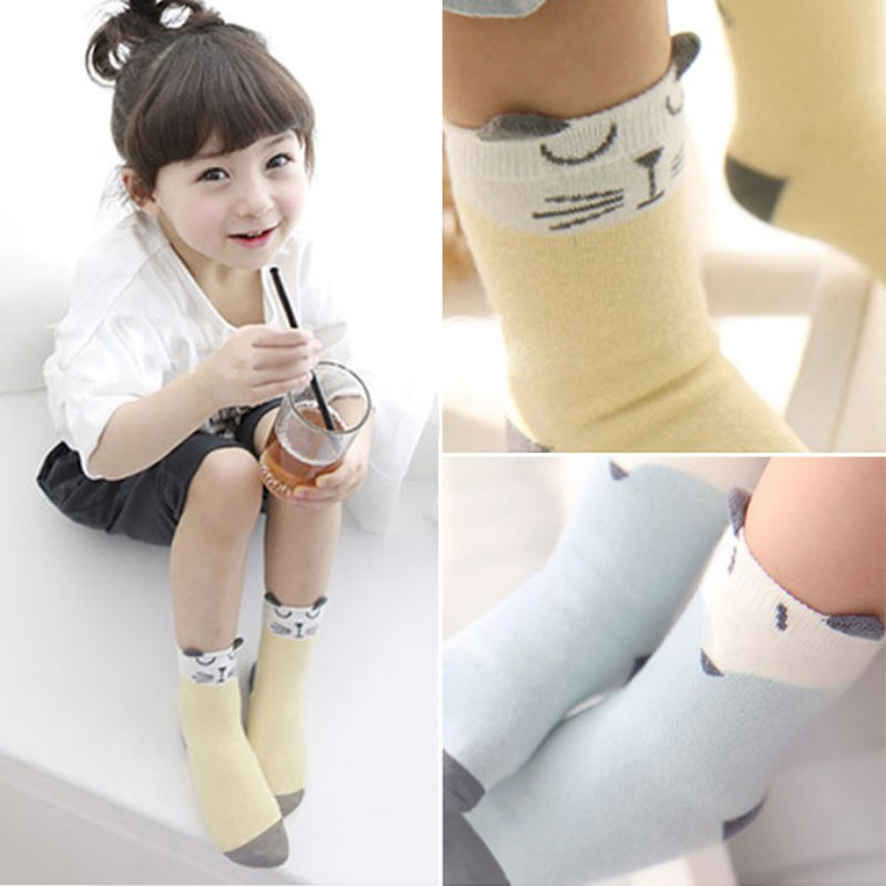 Children Sock Cartoon Cotton Fox Cat Printed Anti-slip Knee Sock Baby Kids Socks