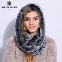Genuine fur hat Hat women's autumn winter women's scarf warm hat women's knitted hat Rex Rabbit female scarf and cap two in one
