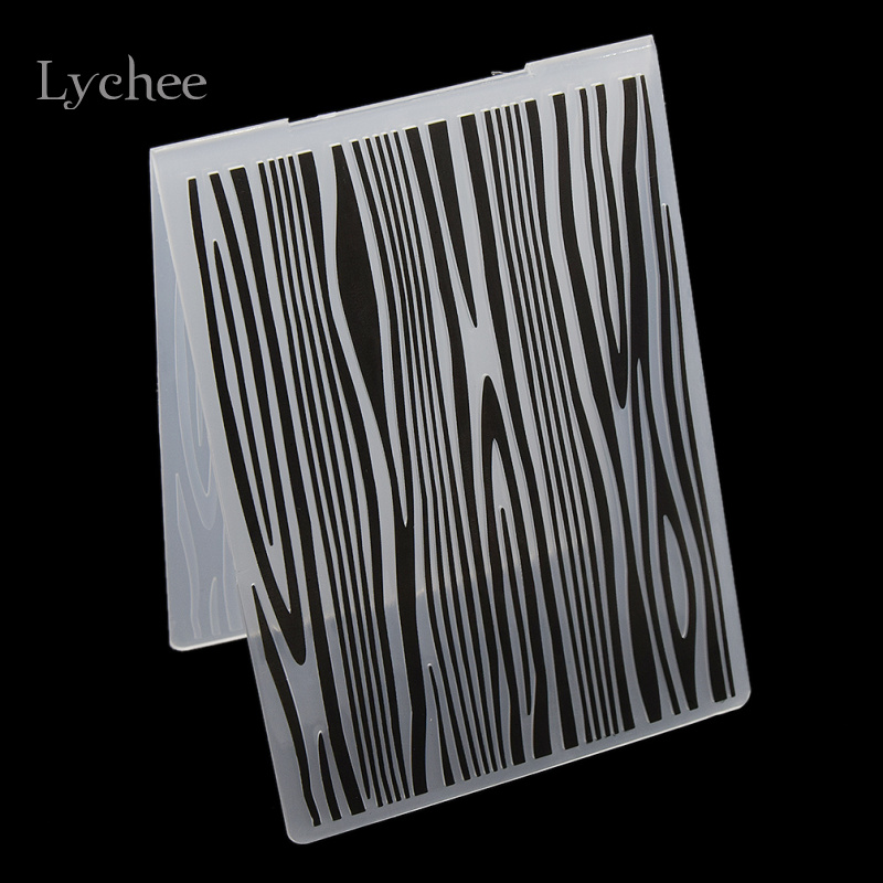 Lychee Plastic Embossing Folder För Scrapbook DIY Album Card Tool Plastmall Tree Texture Rings Stamp