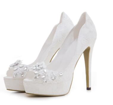 Exquisite white lace peep toe platform high heel shoes for ladies Women open toe super high thin heel pumps Wedding shoes esveva 2017 thin high heel women pumps platform white peep toe wedding shoes sexy ol white ankle strap summer shoes size 34 43